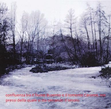 confluenza tra il fiume Busento e il torrente Caronte, nei pressi della quale si sta cercando il tesoro